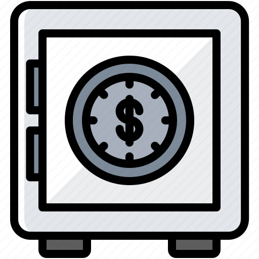 business, dollar, finance, money, safe icon
