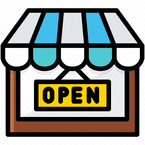 business, finance, open, store icon