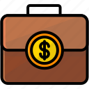 business, coin, finance, suitcase icon