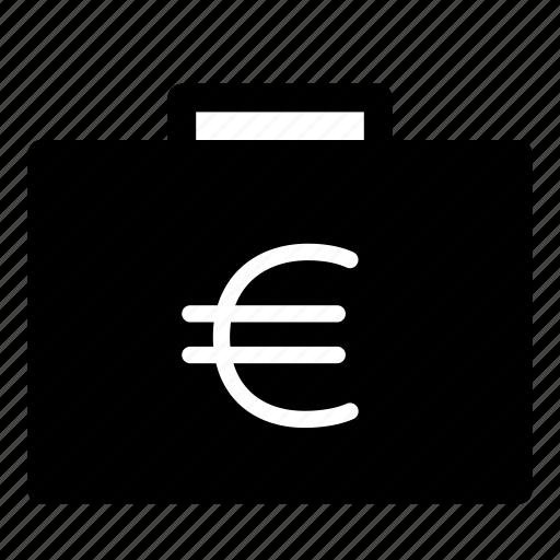 bag, cash, euro, money, suitcase icon