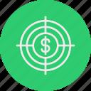 bankingdoller, business, finance, target icon