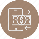 banking, business, doller, finance, money, smart phone icon