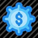 adjustment, dollar, gear, setting, tweak icon