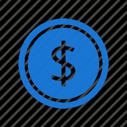 coin, currency, dollar, dollar coin, finance, money icon
