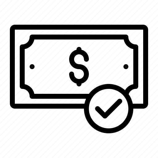 cash, completed, dollar, finance, money, payment icon