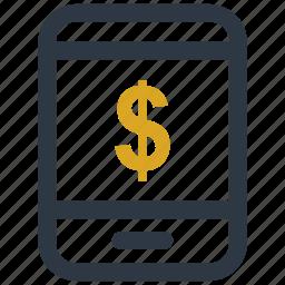 dollar, mobile, money, sign icon icon