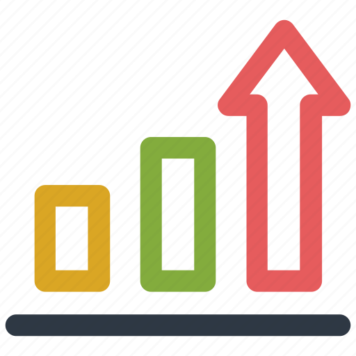 arrow, chart, graph, up icon icon
