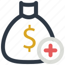 add, bag, bank, dollar, sign icon icon