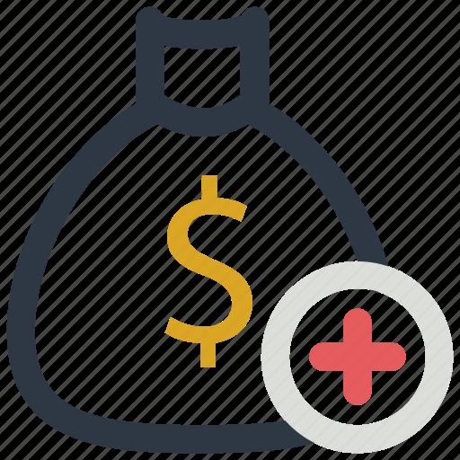 add, bag, bank, dollar, sign icon icon