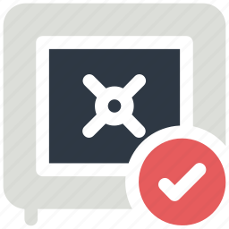 bank, check mark, safe, secure, secured icon icon