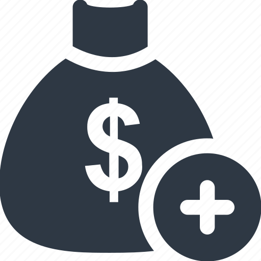 add, bag, bank, cash, dollar, payment, sign icon icon
