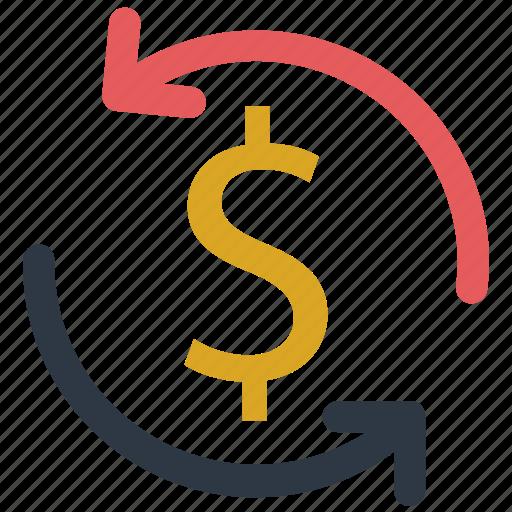 arrow, circle, dollar, dollar change, exchange, money, money exchange icon icon icon