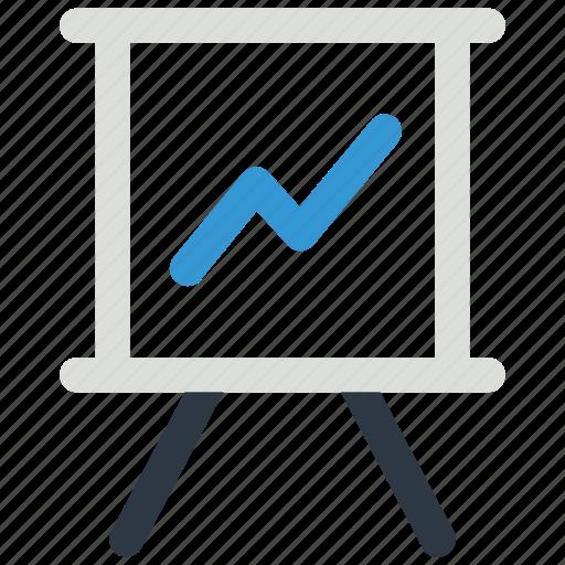 chart, finance, graph, lecture, slide, study, white board icon icon