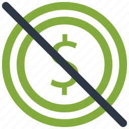 block, business, cancel, circle, currency, dollar icon icon