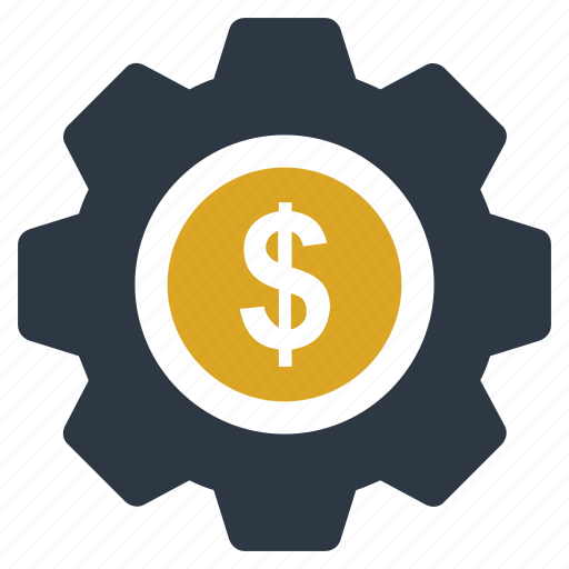 cog, commerce, dollar, dollar with cog, economy, gear, investment icon icon