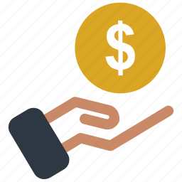 coin, hand and coin, hand holding dollar, hand with dollar icon icon