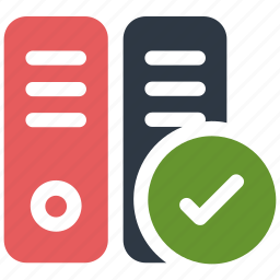 check, documents, folders, mark file folders, office icon icon