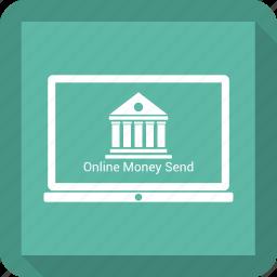 bank, banking, lapop, online icon