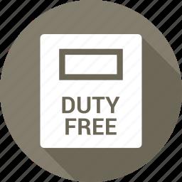 airport, bag, duty, duty free, free, shopping icon