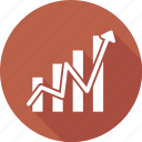arrow, bar, graph, growth icon