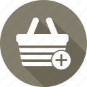 basket, cart, commerce, pluse, shopping basket icon