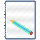 draw, edit, note, notepad, page, pencil, text icon