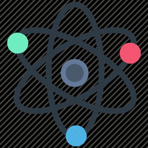 atom, molecule, outline, physics, quantum, science icon