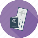 boarding, pass, passport, travel icon