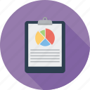 checklist, clipboard, document, list, notepad, paper, pie chart icon