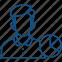 account, pie chart, profile, report, statistics, usage, user icon icon