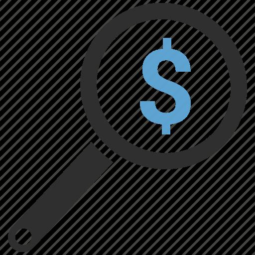 dollar, search icon