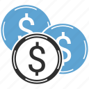 cash, coins, dollar, finance, money icon