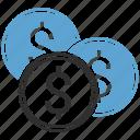 money, coins, dollar, cash, finance icon