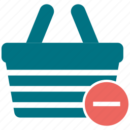 basket, cart, commerce, minus, shopping basket icon