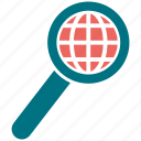 earth, globe, magnifier, map, planet, search icon