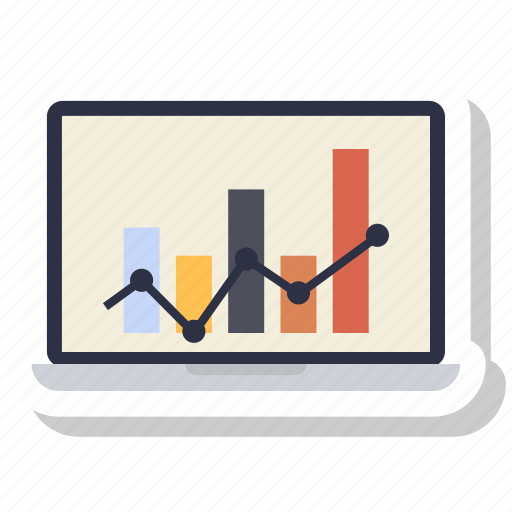 chart, graphic, growth bar, info, laptop icon