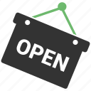 open sign, opening hours, shop, shop open icon