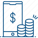cell phone, coins, currency, mobile, money, smart phone icon icon