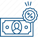 banknote, cash, discount, finance, money, partial, tax percent icon icon