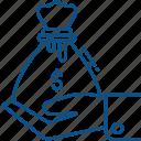 bag, cash, finance, hand, hold, money icon icon