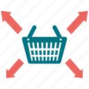 arrow, basket, coop, longico, market, market basket icon