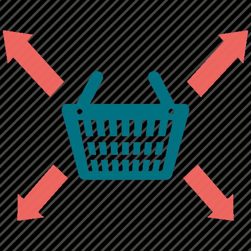 arrow, basket, coop, longico, market, market basket icon