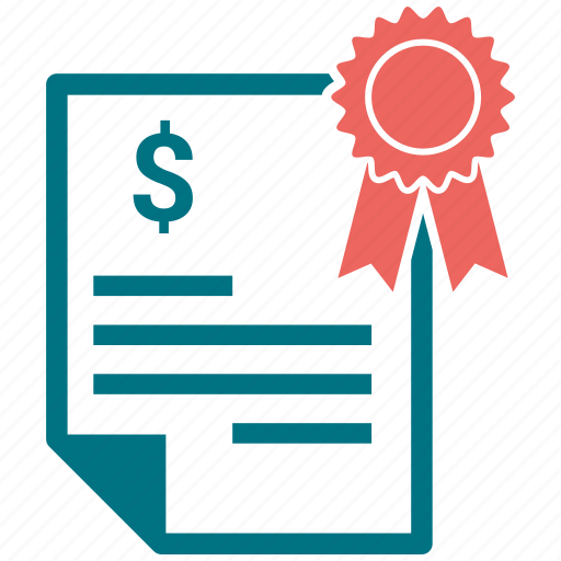 documents, dollar, paper, ribbon, sheets of paper icon