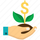 business expand, business growth, dollar, dollar plant, investment icon