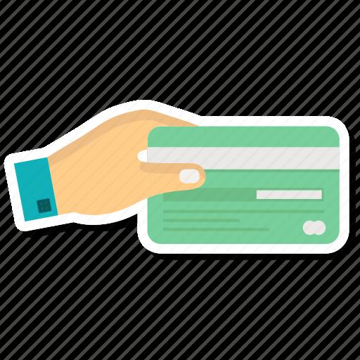 atm card, credit card, debit card, hand icon