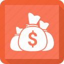finance, investment, money, money bag icon