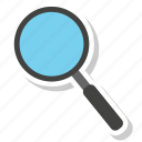 find, glass, magnifier, search icon