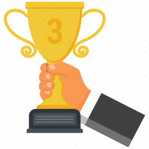 achievement, award, cup, gift, hand, priz, trophy icon