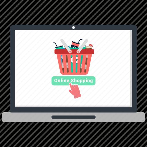 basket, computer, laptop, online buy, online shopping icon