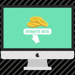 coin, computer, dollar, donate box, money send, monitor icon
